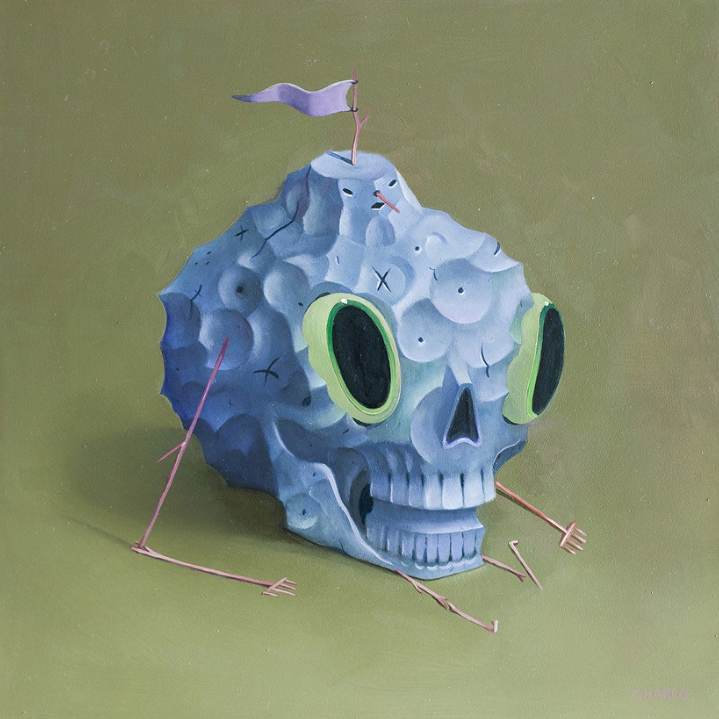 Charlie Immer -  <strong>Carved</strong> (2016<strong style = 'color:#635a27'></strong>)<bR /> oil on paper mounted on board,