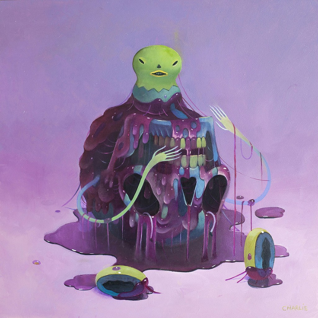 Charlie Immer -  <strong>Slimed</strong> (2016<strong style = 'color:#635a27'></strong>)<bR /> oil on paper mounted on board,