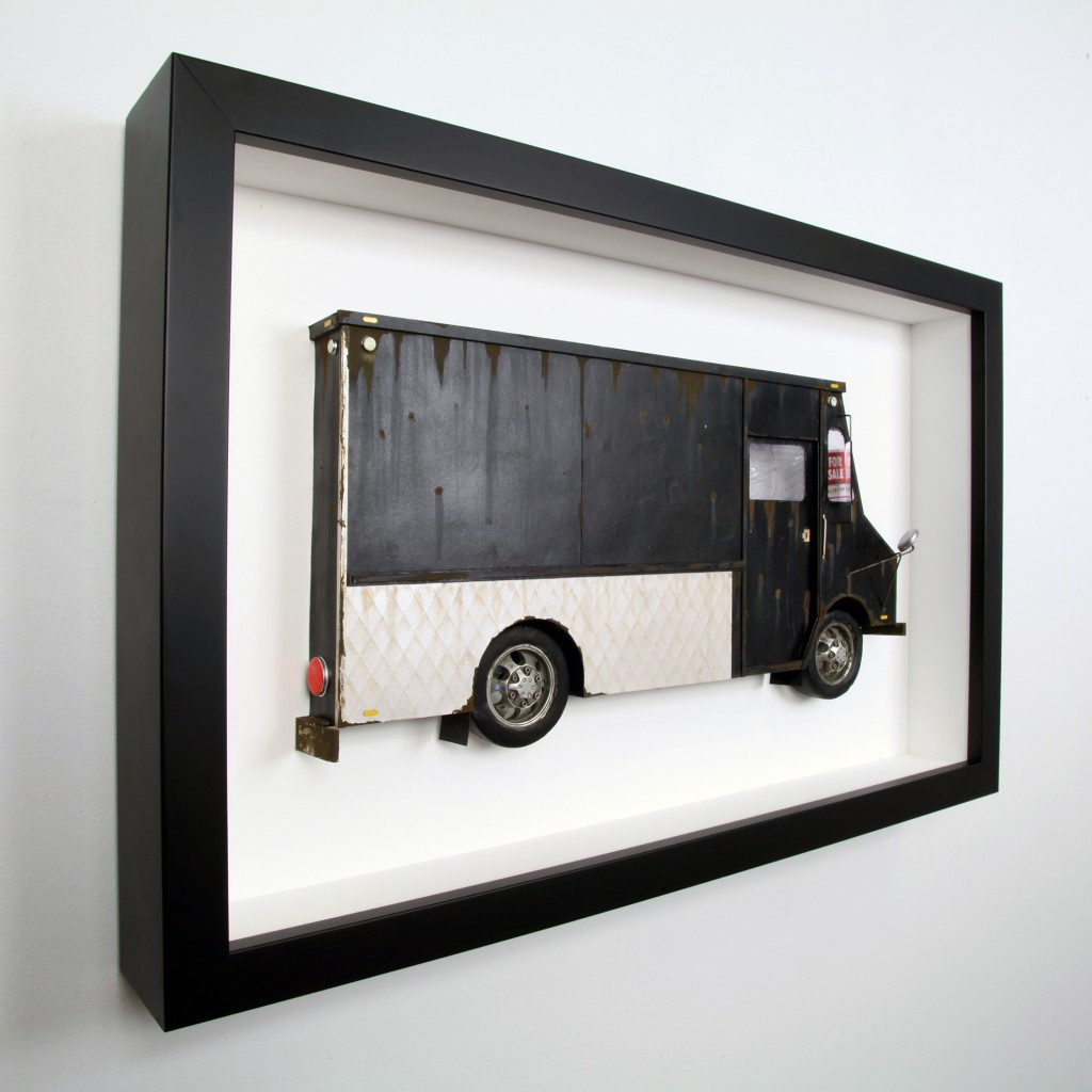 Drew Leshko -  <strong>Black and Silver LLV (side)</strong> (2016<strong style = 'color:#635a27'></strong>)<bR /> paper, enamel, dry pigments, acrylic, plastic, clay, wire, inkjet print, toy hubcaps. Framed in shadowbox without glass,