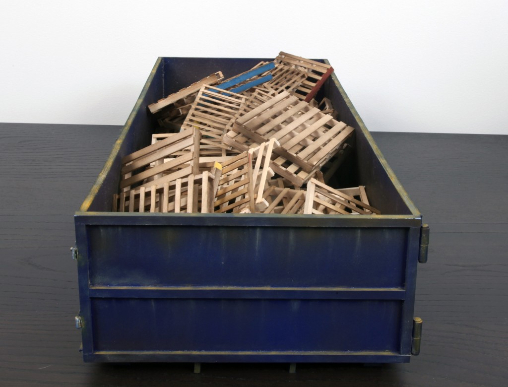 Drew Leshko -  <strong>Blue 30 Yard Dumpster with 55 Pallets</strong> (2016<strong style = 'color:#635a27'></strong>)<bR /> paper, enamel, acrylic, dry pigments, wire, wood, 5 x 21.5 x 9 inches, (12.7 x 54.61 x 22.86 cm)