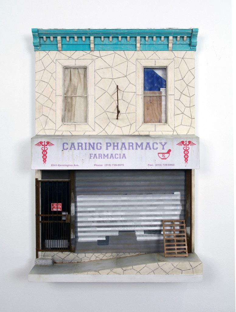 Drew Leshko -  <strong>Caring Pharmacy</strong> (2016<strong style = 'color:#635a27'></strong>)<bR /> paper, enamel, acrylic, dry pigments, plastic, wire, plaster, inkjet prints, wood, 24 x 16 x 3 inches, (60.96 x 40.64 x 7.62 cm) <strong>SOLD</strong>