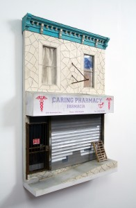Drew Leshko -  <strong>Caring Pharmacy (side)</strong> (2016<strong style = 'color:#635a27'></strong>)<bR /> paper, enamel, acrylic, dry pigments, plastic, wire, plaster, inkjet prints, wood,