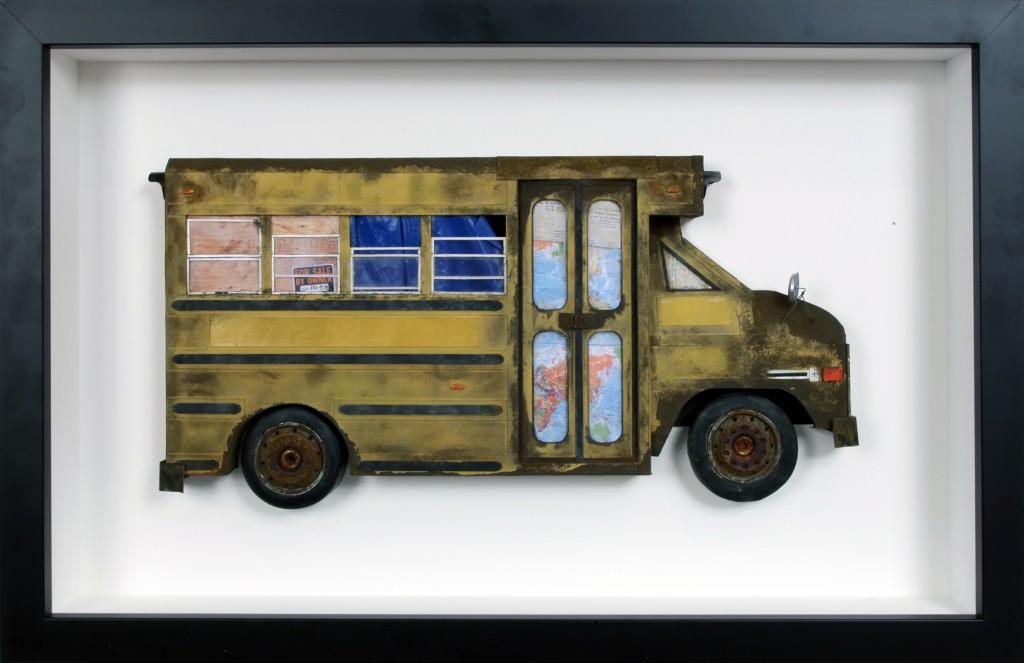 Drew Leshko -  <strong>Small School Bus</strong> (2016<strong style = 'color:#635a27'></strong>)<bR /> paper, enamel, dry pigments, acrylic, plastic, wire, clay, inkjet prints, toy hubcaps. Framed in shadowbox without glass,