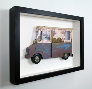 Drew Leshko -  <strong>White and Maroon LLV (side)</strong> (2016<strong style = 'color:#635a27'></strong>)<bR /> paper, enamel, dry pigments, acrylic, plastic, clay, wire, inkjet print, toy hubcaps. Framed in shadowbox without glass,