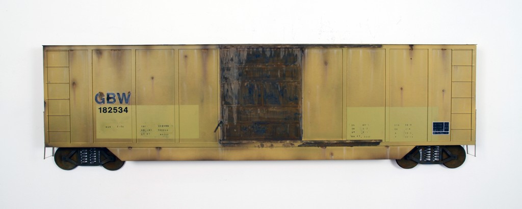 Drew Leshko -  <strong>Yellow Boxcar 40'</strong> (2016<strong style = 'color:#635a27'></strong>)<bR /> paper, enamel, acrylic, dry pigments, wire, ink on wood panel,