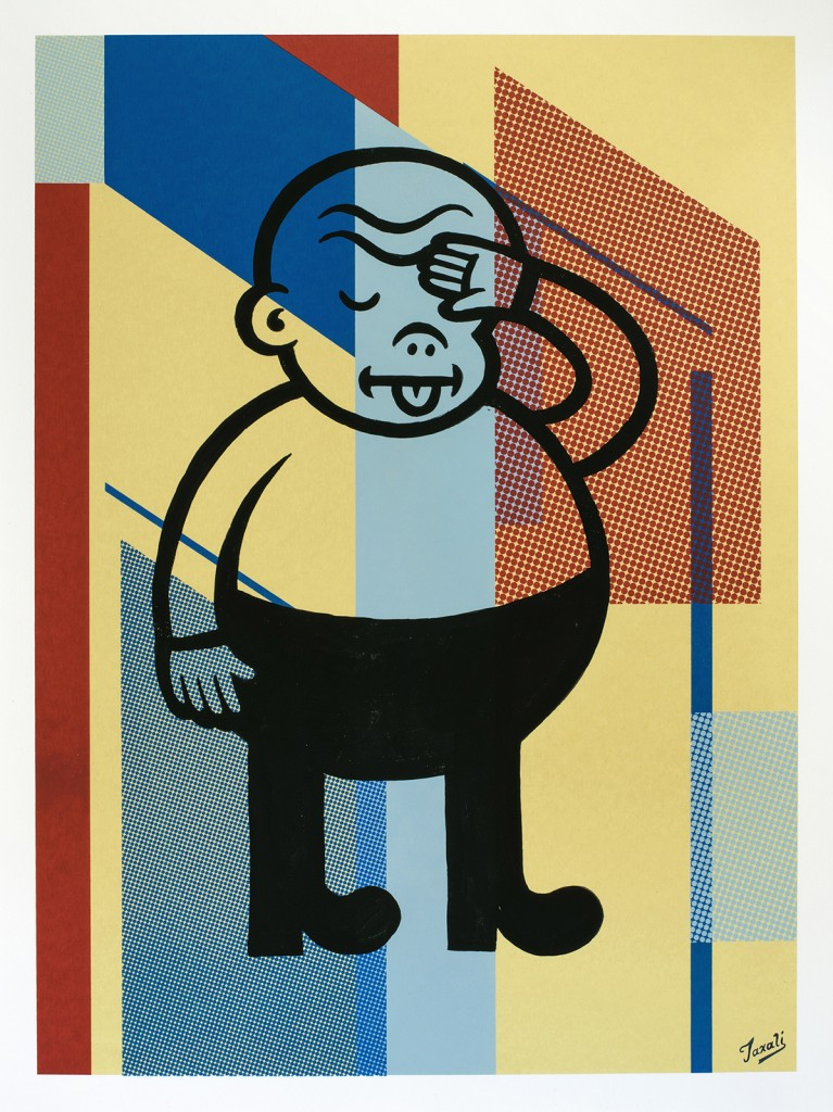 Gary Taxali -  <strong>22</strong> (2016<strong style = 'color:#635a27'></strong>)<bR /> hand painted multiple (HPM) acrylic on 4-color silkscreen,