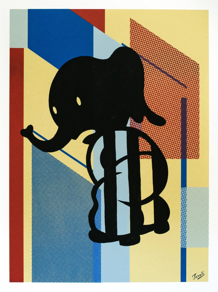 Gary Taxali -  <strong>33</strong> (2016<strong style = 'color:#635a27'></strong>)<bR /> hand painted multiple (HPM) acrylic on 4-color silkscreen,