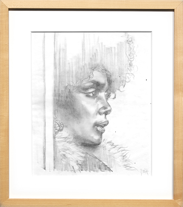 Glenn Barr -  <strong>Cleopatra Jones</strong> (2016<strong style = 'color:#635a27'></strong>)<bR /> graphite on paper, 14 x 11 inches, 35.6 x 27.9 cm), framed: 17 x 15 inches, (43.2 x 38.1 cm)