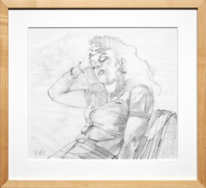 Glenn Barr -  <strong>The Spell (study)</strong> (2016<strong style = 'color:#635a27'></strong>)<bR /> graphite on paper, 14 x 17 inches, (35.6 x 43.2 cm), framed: 17 1/4 x 18 5/8 inches, (43.8 x 47.3 cm) $800
