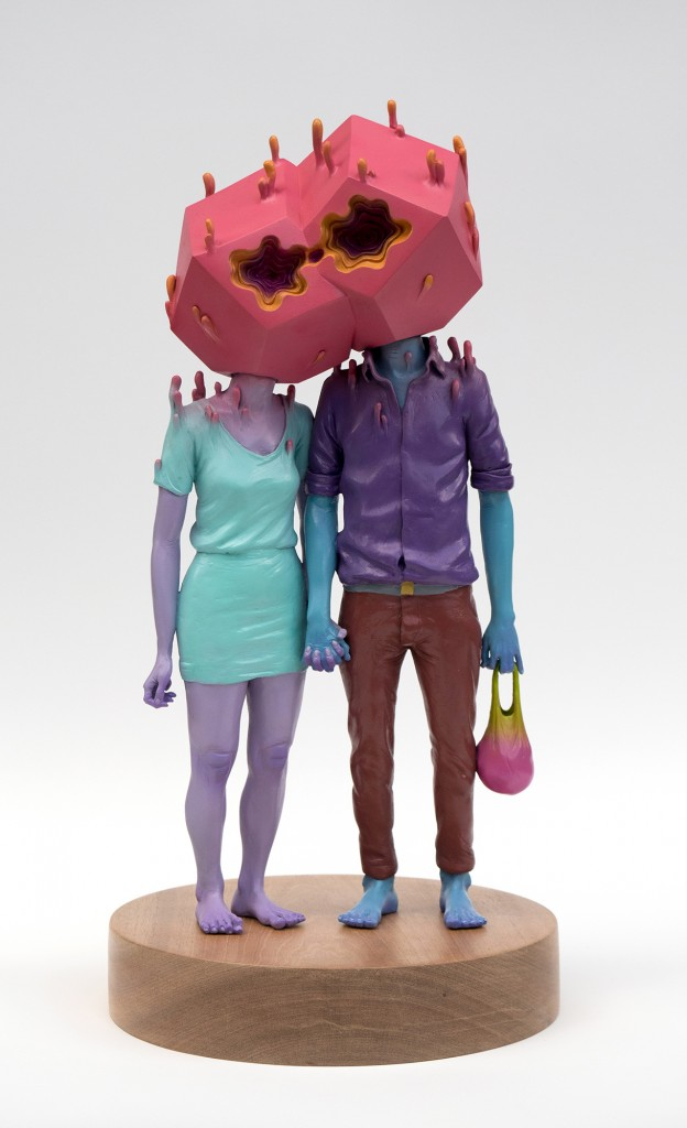 Troy Coulterman -  <strong>The Couple edition 1/3</strong> (2016<strong style = 'color:#635a27'></strong>)<bR /> painted resin, wood base,