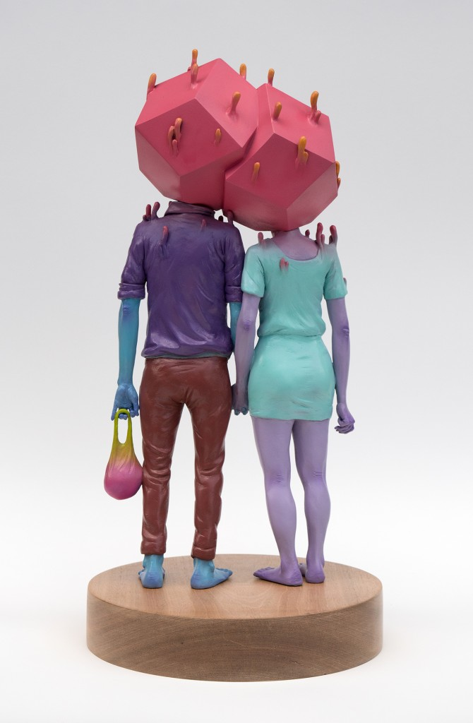 Troy Coulterman -  <strong>The Couple edition 1/3 (back)</strong> (2016<strong style = 'color:#635a27'></strong>)<bR /> painted resin, wood base,