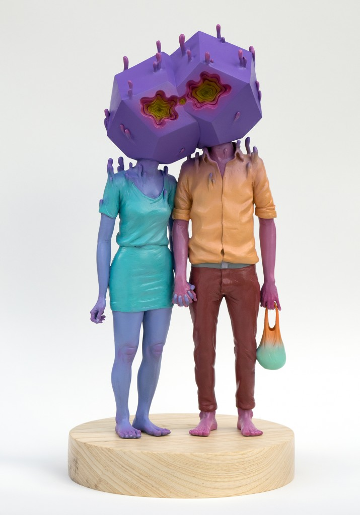 Troy Coulterman -  <strong>The Couple edition 2/3</strong> (2016<strong style = 'color:#635a27'></strong>)<bR /> painted resin, wood base, 18.5 x 9.25 x 9.25 inches, (46.99 x 23.49 x 23.49 cm) <strong>SOLD</strong>