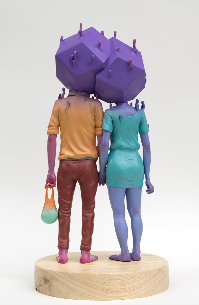 Troy Coulterman -  <strong>The Couple edition 2/3 (back)</strong> (2016<strong style = 'color:#635a27'></strong>)<bR /> painted resin, wood base,