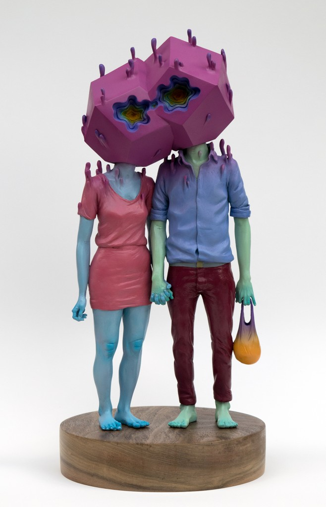 Troy Coulterman -  <strong>The Couple edition 3/3</strong> (2016<strong style = 'color:#635a27'></strong>)<bR /> painted resin, wood base,