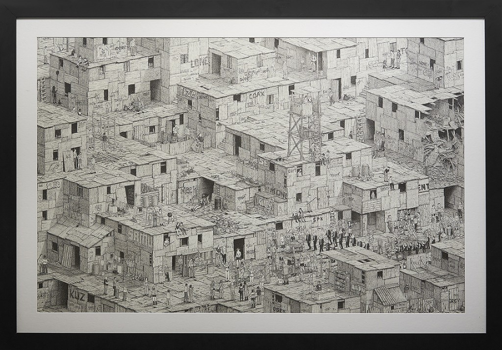 Ben Tolman -  <strong>More</strong> (2014<strong style = 'color:#635a27'></strong>)<bR /> ink on paper,