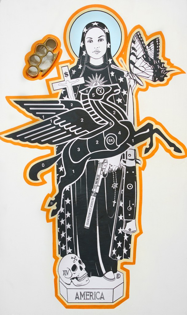 Dylan Egon -  <strong>58 Saint</strong> (2016<strong style = 'color:#635a27'></strong>)<bR /> wheat paste with acrylic, brass knuckles, on birch board, 30 x 18 inches, (76.2 x 45.72 cm)