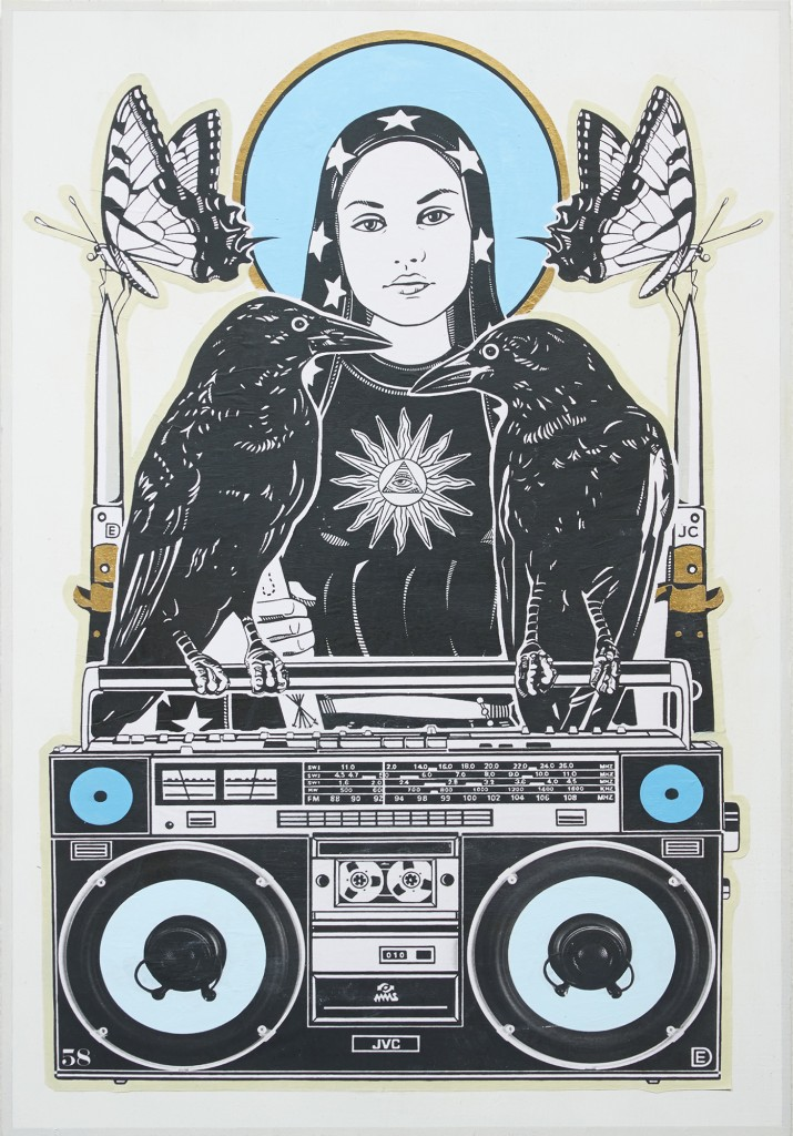 Dylan Egon -  <strong>Boombox Saint</strong> (2016<strong style = 'color:#635a27'></strong>)<bR /> wheat paste with acrylic and gold leaf on birch board,  25.5 x 18 inches, (64.77 x 45.72 cm)