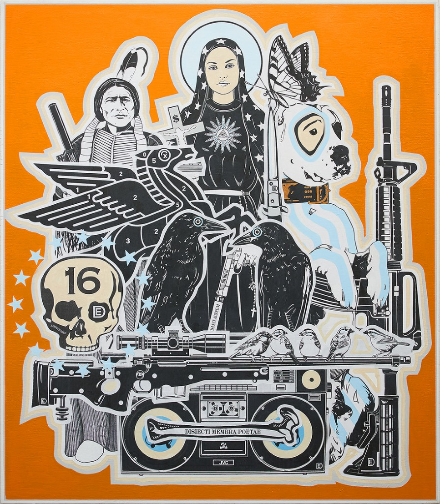 Dylan Egon -  <strong>The Ark</strong> (2016<strong style = 'color:#635a27'></strong>)<bR /> wheat paste with acrylic and gold leaf on birch board, 32 x 28 inches, (81.28 x 71.12 cm) <strong>SOLD</strong>
