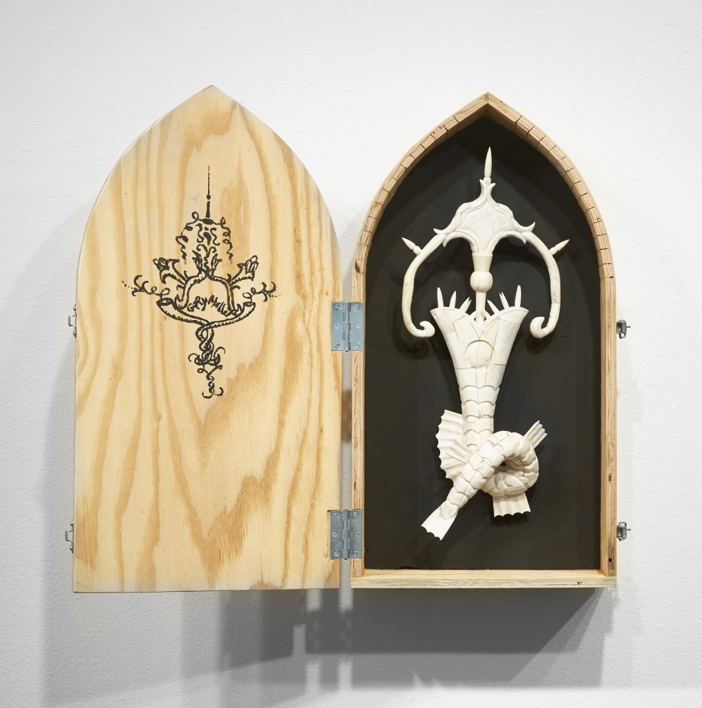 Gary Mellon -  <strong>#17 </strong> (2016<strong style = 'color:#635a27'></strong>)<bR /> carved cow bone and wood in wood box,
