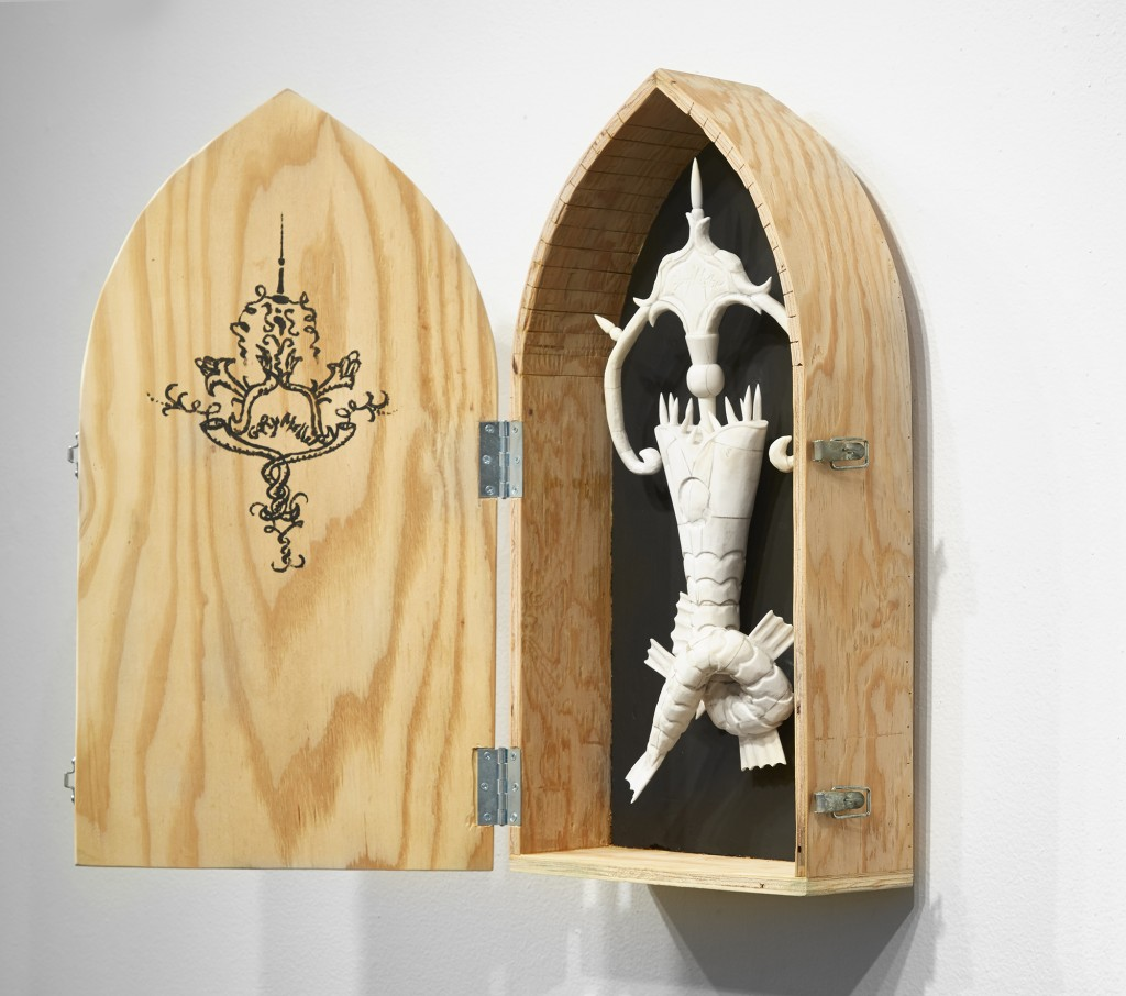 Gary Mellon -  <strong>#17 (side)</strong> (2016<strong style = 'color:#635a27'></strong>)<bR /> carved cow bone and wood in wood box,