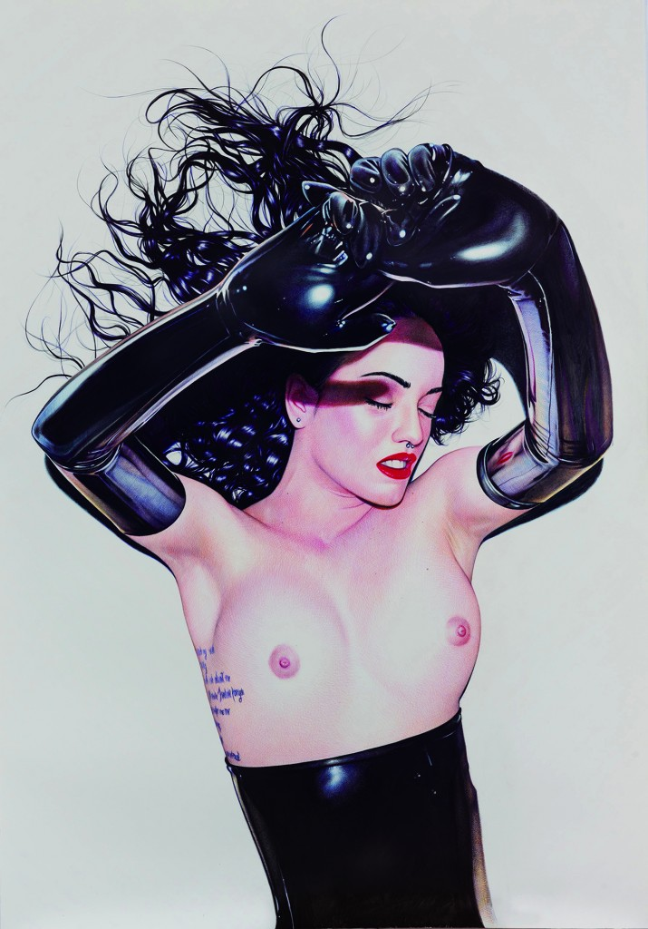 Juan Francisco Casas -  <strong>My Latex Andromeda 2</strong> (2016<strong style = 'color:#635a27'></strong>)<bR /> ballpen and marker on paper, 78.74 x 55.11 inches, (200 x 140 cm)