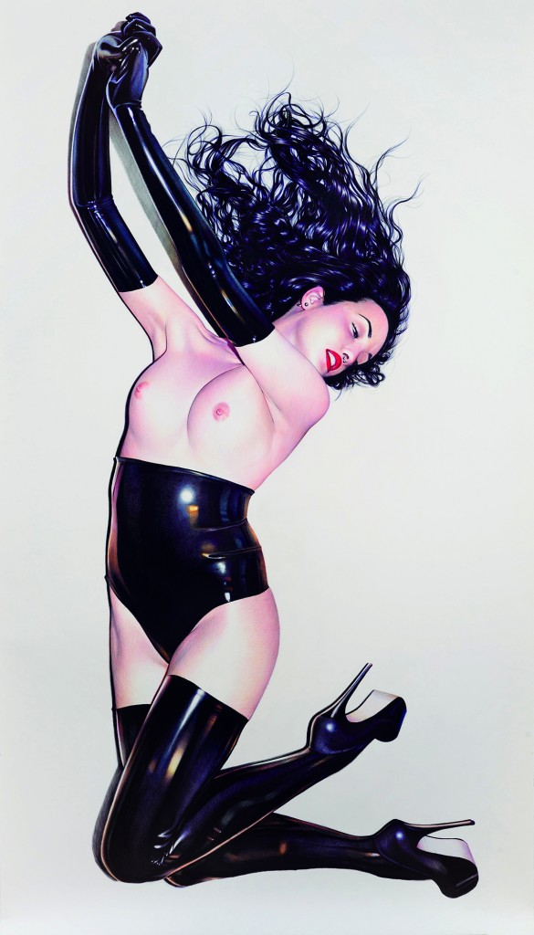 Juan Francisco Casas -  <strong>My Latex Andromeda 3</strong> (2016<strong style = 'color:#635a27'></strong>)<bR /> ballpen and marker on paper, 98.42 x 55 inches, (250 x 139.7 cm)