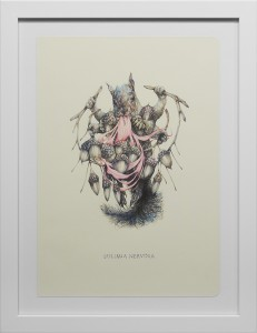 Marco Mazzoni -  <strong>Bulimia Nervosa</strong> (2016<strong style = 'color:#635a27'></strong>)<bR /> colored pencil on moleskine paper,
