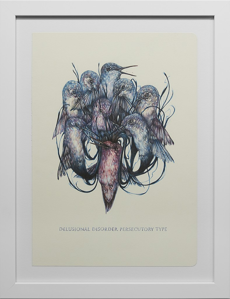 Marco Mazzoni -  <strong>Delusional Disorder Persecutory</strong> (2016<strong style = 'color:#635a27'></strong>)<bR /> colored pencil on moleskine paper,