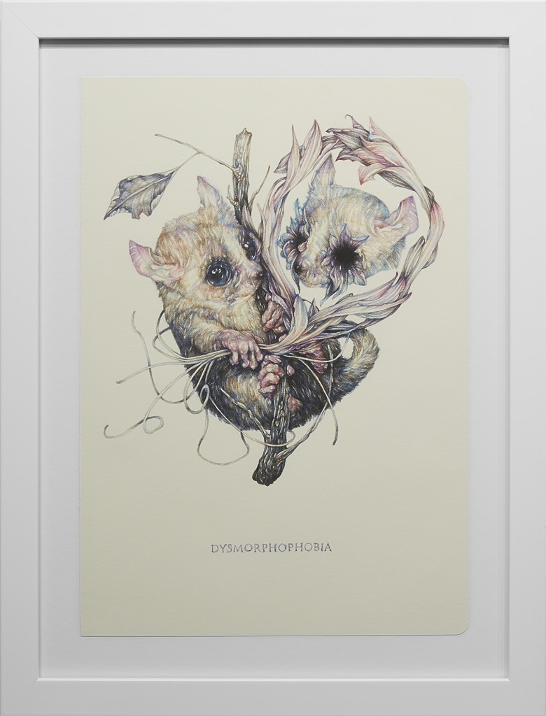 Marco Mazzoni -  <strong>Dysmorphophobia</strong> (2016<strong style = 'color:#635a27'></strong>)<bR /> colored pencil on moleskine paper,