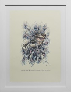 Marco Mazzoni -  <strong>Histrionic Personality </strong> (2016<strong style = 'color:#635a27'></strong>)<bR /> colored pencil on moleskine paper,  11.81 x 8.26 inches, (30 x 21 cm), framed: 15 x 11.5 inches, (38.1 x 29.21 cm) <strong>SOLD</strong>