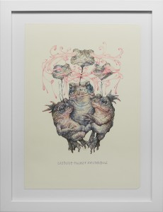 Marco Mazzoni -  <strong>Lasègue-Falret Syndrome</strong> (2016<strong style = 'color:#635a27'></strong>)<bR /> colored pencil on moleskine paper, 11.81 x 8.26 inches, (30 x 21 cm), framed: 15 x 11.5 inches, (38.1 x 29.21 cm)