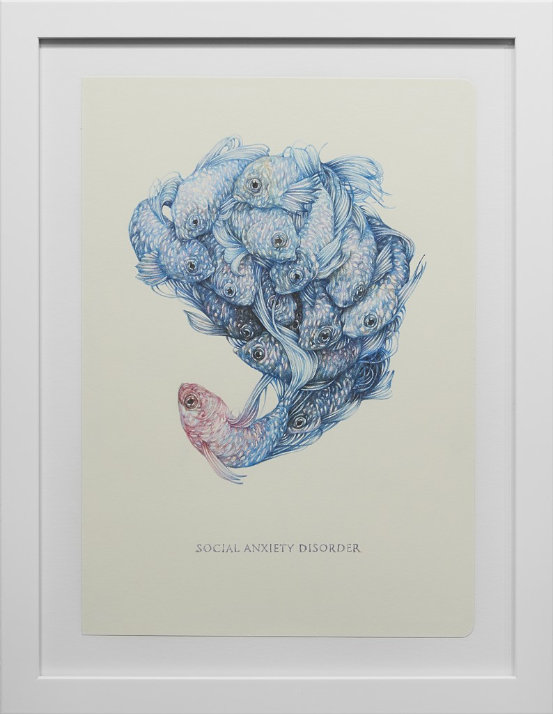 Marco Mazzoni -  <strong>Social Anxiety Disorder</strong> (2016<strong style = 'color:#635a27'></strong>)<bR /> colored pencil on moleskine paper,