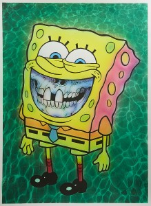 Ron English -  <strong>Spongebob Grin</strong> (2016<strong style = 'color:#635a27'></strong>)<bR /> hand painted multiple (HPM) silkscreen on paper,