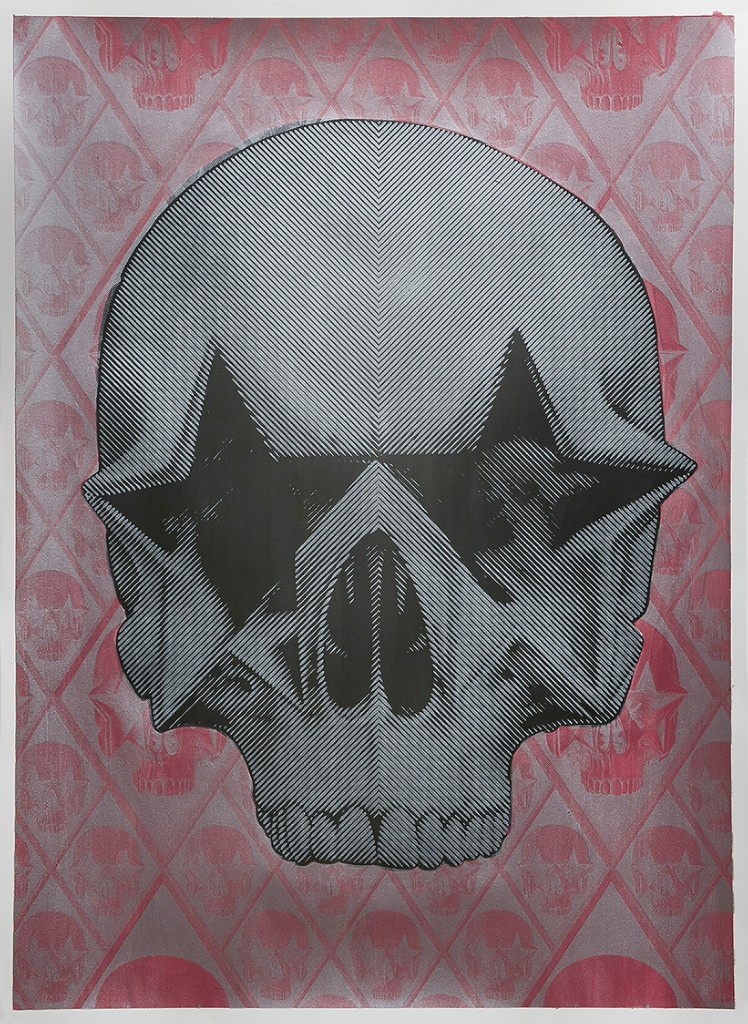 Ron English -  <strong>Starskull Negative</strong> (2016<strong style = 'color:#635a27'></strong>)<bR /> hand painted multiple (HPM) silkscreen on paper,