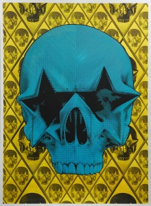 Ron English -  <strong>Starskull Positive</strong> (2016<strong style = 'color:#635a27'></strong>)<bR /> hand painted multiple (HPM) silkscreen on paper,