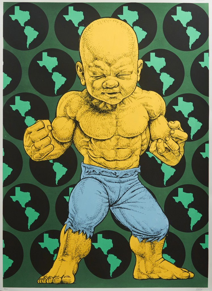 Ron English -  <strong>Texas Temper Tot 5/32</strong> (2016<strong style = 'color:#635a27'></strong>)<bR /> hand painted multiple (HPM) silkscreen on paper,