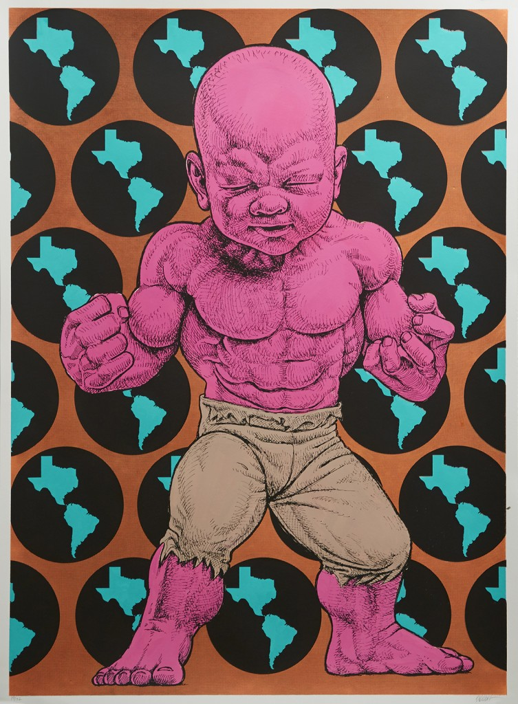 Ron English -  <strong>Texas Temper Tot 19/32</strong> (2016<strong style = 'color:#635a27'></strong>)<bR /> hand painted multiple (HPM) silkscreen on paper,