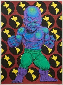 Ron English -  <strong>Texas Temper Tot 15/32</strong> (2016<strong style = 'color:#635a27'></strong>)<bR /> hand painted multiple (HPM) silkscreen on paper,