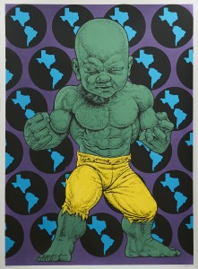 Ron English -  <strong>Texas Temper Tot 26/32</strong> (2016<strong style = 'color:#635a27'></strong>)<bR /> hand painted multiple (HPM) silkscreen on paper,