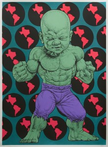 Ron English -  <strong>Texas Temper Tot 29/32</strong> (2016<strong style = 'color:#635a27'></strong>)<bR /> hand painted multiple (HPM) silkscreen on paper,