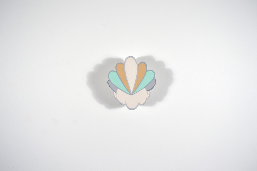 Sam Gibbons -  <strong>Cloud with Floret</strong> (2016<strong style = 'color:#635a27'></strong>)<bR /> acrylic on MDF, 2.75 x 2.5 inches, (6.98 x 6.35 cm)