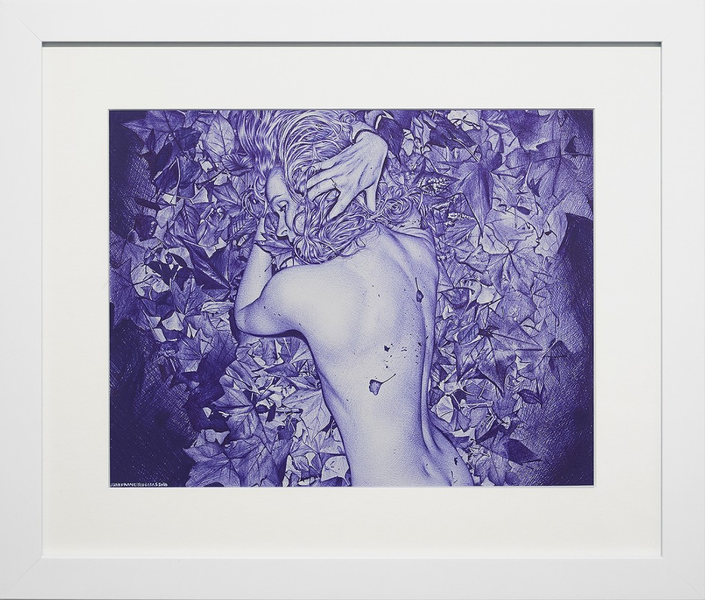 Juan Francisco Casas -  <strong>Paris Picnic 2</strong> (2016<strong style = 'color:#635a27'></strong>)<bR /> ballpen on paper, 10.43 x 13.38 inches, (26.5 x 34 cm), framed: 16.5 x 19.75 inches, (41.91 x 50.16 cm) $8,000