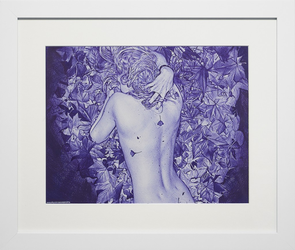 Juan Francisco Casas -  <strong>Paris Picnic 3</strong> (2016<strong style = 'color:#635a27'></strong>)<bR /> ballpen on paper, 10.43 x 13.38 inches, (26.5 x 34 cm), framed: 16.5 x 19.75 inches, (41.91 x 50.16 cm) $8,000