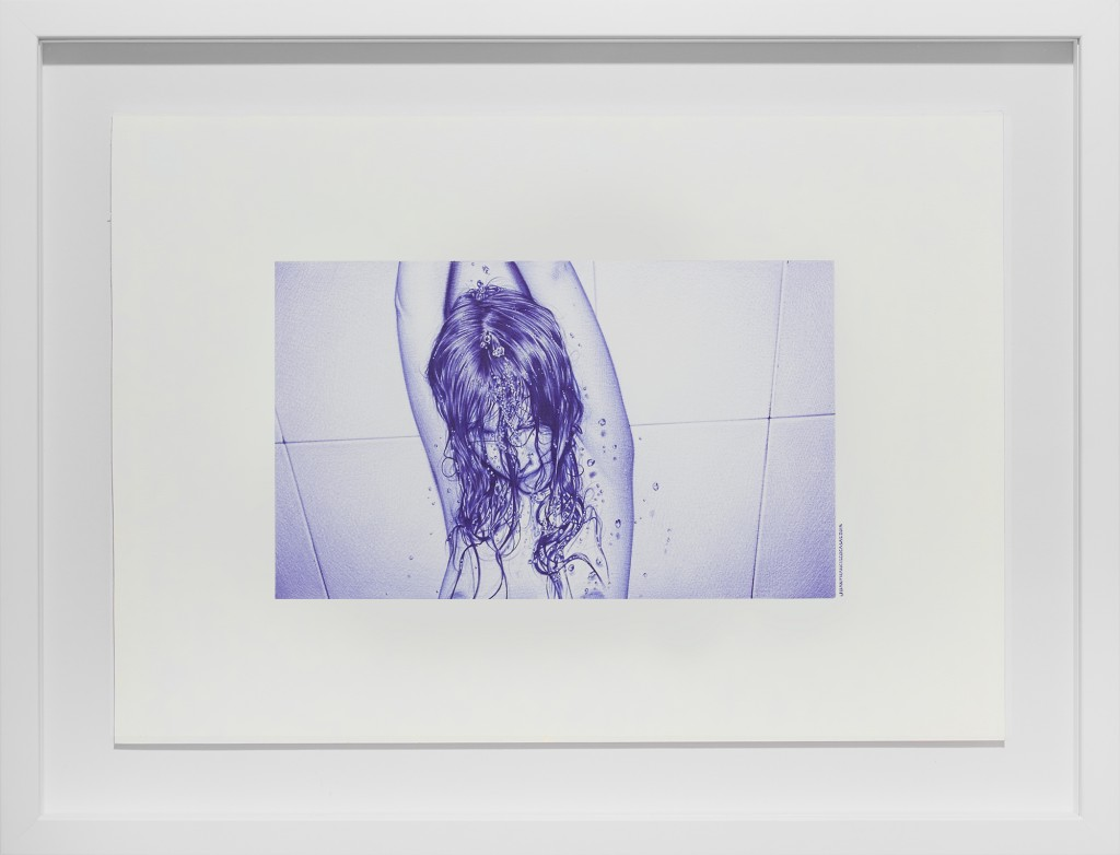 Juan Francisco Casas -  <strong>The Shower Soprano</strong> (2016<strong style = 'color:#635a27'></strong>)<bR /> ballpen on paper, 6.29 x 10.23 inches, (16 x 26 cm), framed: 16 x 20.75 inches, (40.64 x 52.7 cm) $5,500
