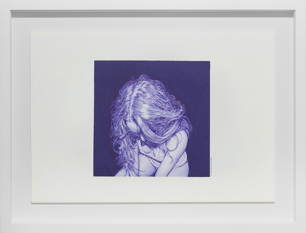 Juan Francisco Casas -  <strong>What Lies Within Us 1</strong> (2016<strong style = 'color:#635a27'></strong>)<bR /> ballpen on paper, 7.87 x 7.87 inches, (20 x 20 cm), framed: 16 x 20.75 inches, (40.64 x 52.7 cm)