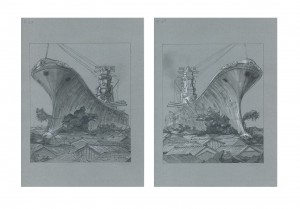 Masakatsu Sashie -  <strong>Great Battle (set of 2)</strong> (2016<strong style = 'color:#635a27'></strong>)<bR /> pencil, pen and watercolor on paper, 10.82 x 7.67 inches each, (27.48 x 19.48 cm) framed: 18.75 x 24.5 inches, (47.62 x 62.23 cm)