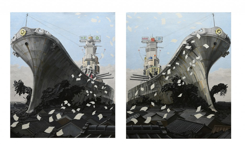 Masakatsu Sashie -  <strong>ZERO-SUM (set of 2)</strong> (2016<strong style = 'color:#635a27'></strong>)<bR /> oil on canvas, 28.62 x 23.85 inches each, (72.69 x 60.57 cm), framed: 33.25 x 28.5 inches each, (84.45 x 72.39 cm) $15,000