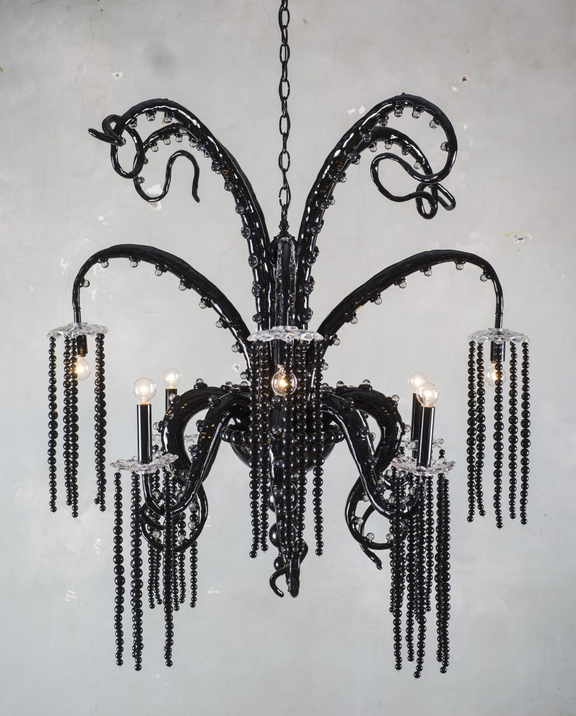 Adam Wallacavage -  <strong>Black Chandelier</strong> (2015<strong style = 'color:#635a27'></strong>)<bR /> lamp parts, vintage glass bobeches, glass beads, epoxy clay, epoxy resin, spray paint, 25 x 37 inches, (63.5 x 93.98 cm)