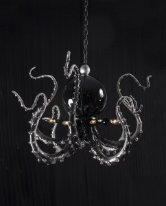 Adam Wallacavage -  <strong>Black Pearl Chandelier</strong> (2014<strong style = 'color:#635a27'></strong>)<bR /> lamp parts, spray paint, glass beads, epoxy clay, epoxy resin,  25 x 37 inches, (63.5 x 93.98 cm) $6750