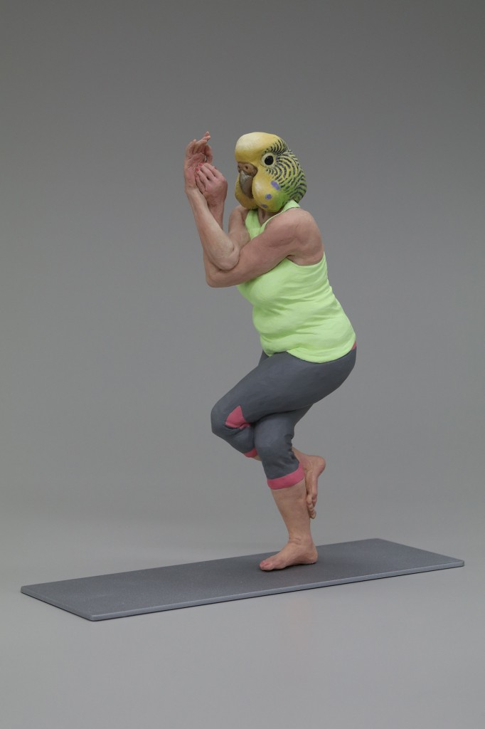 Alessandro Gallo -  <strong>Eagle Pose (right)</strong> (2016<strong style = 'color:#635a27'></strong>)<bR /> stoneware, mixed media, 12 x 6 x 13 inches, (30.48 x 15.24 x 33.02 cm)
